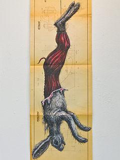 Skizze des Streetart-Künstlers ROA zeigt einen gehäuteten Hasen