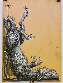 Skizze des Streetart-Künstlers ROA zeigt eine Ratte