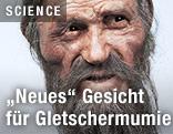 """Das nach einer Rekonstruktion neu entstandene Gesicht der Gletschermumie """"Ötzi"""""""