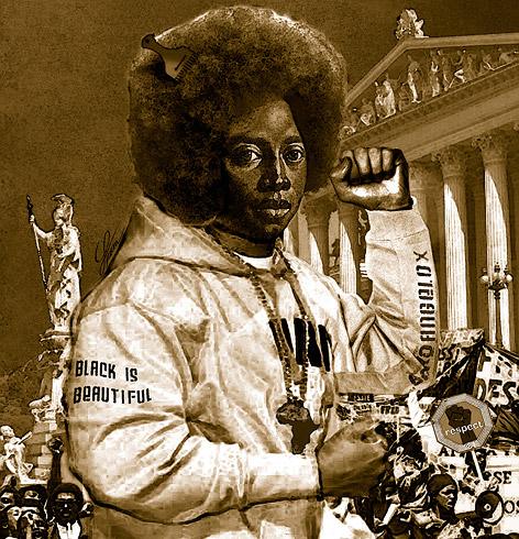 """Bild """"Angelo X"""" zeigt einen dunkelhäutigen mit Afro vor dem Parlament"""
