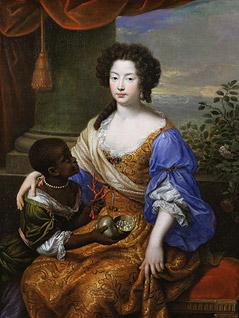 """Das Bild """"Duchess of Portsmouth"""" von Louise de Kerouaille zeigt eine Adelige mit einem dunkelhäutigen Kind"""