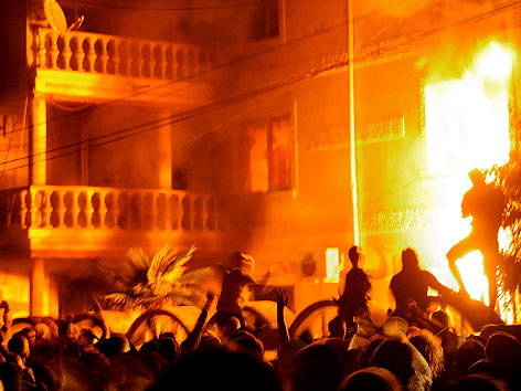 Brennendes Haus von Romaführer Kiril Rashkov