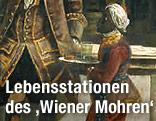 """Das Gartenpalais Liechtenstein in Wien, rechts der Fürst mit seinem """"Hofmohren"""", 1759/60, von Bernardo Bellotto"""