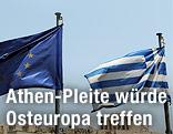 Europäische und griechische Flagge