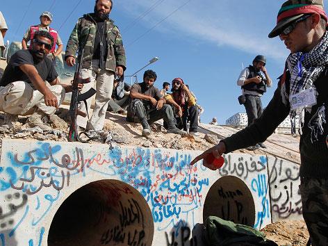 Abwasserrohr als Gaddafi-Versteck