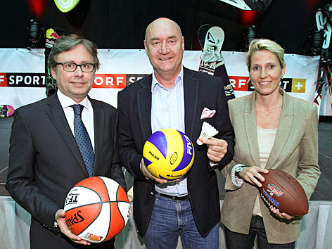 ORF-Generaldirektor Alexander Wrabetz, ORF-TV-Sportchef Hans-Peter Trost und Sendungsverantwortliche Veronika Dragon-Berger