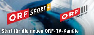 Logos von ORF Sport Plus und ORF III