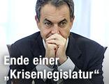 Spaniens Ministerpräsident Jose Luis Rodriguez Zapatero nachdenklich