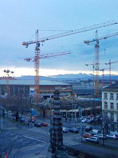 Tagaufnahme vom Bau des Westbahnhofs