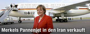 """Deutsche Kanzerlin Angela Merkel vor Regierungsflugzeug """"Theodore Heuss"""""""