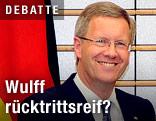 Deutscher Präsident Wulff lacht