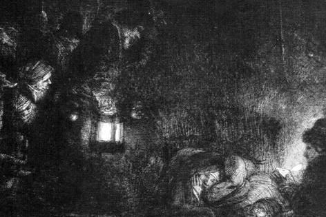 Die Anbetung der Hirten Kaltnadelradierung von Rembrandt 1652