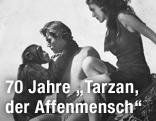 Johnny Weissmuller und Maureen O'Sullivan mit Cheeta im Film Escapes 1936