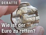 Zerdrückte Euro-Münze