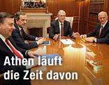 Papademos, Papandreou, Samaras und Karatzaferis am Verhandlungstisch