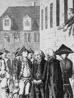 Stich der die Festnehmung Heinrich von Kattes, des Freunds Friedrichs des Großen, zeigt