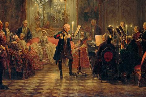 Adolph von Menzel, Friedrich beim Flötenspiel in Sanssouci, Gemälde