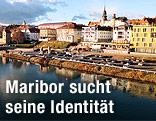 Sicht vom Fluss Drava auf die Stadt Maribor