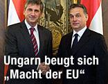 Ungarns Premier Viktor Orban trifft Österreichs Außenminister und Vizekanzler Michael Spindelegger