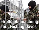 Soldaten des schweizerischen Bundesheeres in Davos