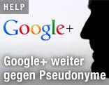 Männliches Profil vor dem Google+-Logo