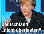 Die deutsche Bundeskanzlerin Angela Merkel während ihrer Eröffnungsrede beim Weltwirtschaftsforum in Davos
