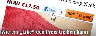 """Auf einer Online-Shopping-Website ist der Mauszeiger über dem """"Like""""-Button von Facebook"""