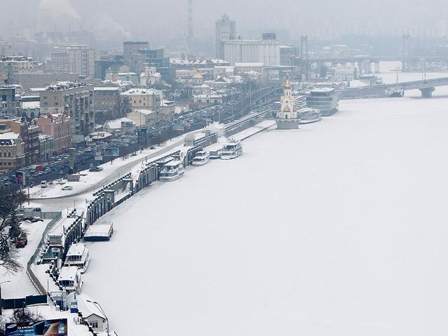 Kiev an der zugefrorenen Dnepr
