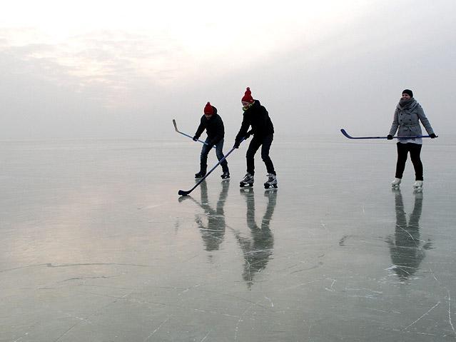 Eishockeyspieler am Neusiedlersee