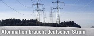 Stromleitungen über schneebedeckter Landschaft