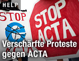 Protestschilder bei ACTA-Demonstration