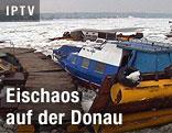 Havarierte Boote und Eisschollen auf der Donau
