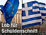 EU-Flagge und griechische Flagge vor der Akropolis