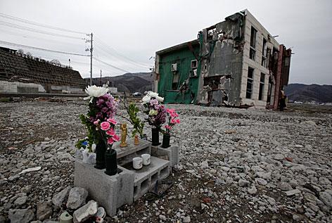 Blumen und Ruinen erinnern an die Katastrophe vom 11.3.2011