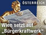 Werbekampagne zum BürgerInnen Solarkraftwerk mit Sujet Johann Strauss