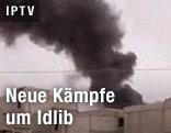 Brennendes Haus in Syrien
