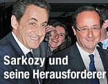 Französischer Präsident Nicolas Sarkozy und Herausforderer Francois Hollande