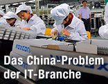 Arbeiter in einer Foxconn-Fabrik in China