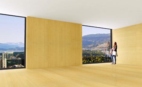 3D-generiertes Bild von einem Holzhochhaus