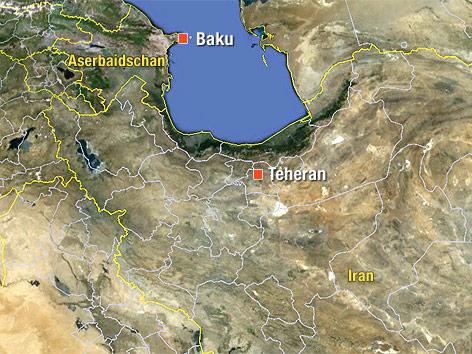 Karte von Aserbaidschan und Iran