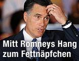 Der republikanische US-Präsidentschaftskandidat Mitt Romney greift sich auf die Stirm