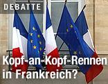 Französische und EU-Flaggen