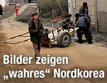 Bewohner einer Wohnanlage in Pjöngjang
