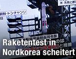 Nordkoreanische Rakete auf einem Fernsehbildschirm