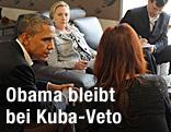 U-Präsident Barack Obama, US-Außenministerin Hillary Clinton und die Argentinische Präsidentin Cristina Kirchner  im Gepräch