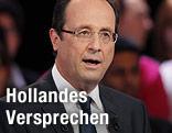 Der sozialistische Präsidentschaftskandidat Francois Hollande bei einer TV-Debatte