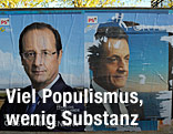 Wahlplakate von Hollande und Sarkozy