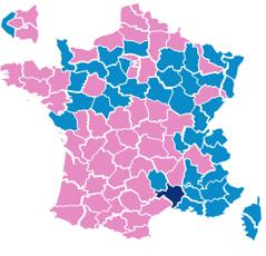 Wahlergebnisse, aufgeschlüsselt laut Departements