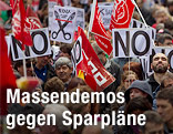 Demonstration gegen Sparpläne in Spanien