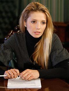 Jewgenija Timoschenko, Tochter der inhaftierte Politikerin Julia Timoschenko, bei einem Interview